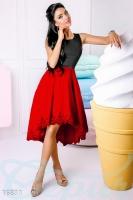 Платье черно-красное вечернее Комбинированное каскадное-L