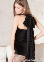 Боди из эластичной бархатной ткани с шикарным шарфом