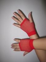 Перчатки  в сеточку красные
