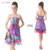 Платье пурпурное вечернее с брошью и многослойной юбкой-44-46